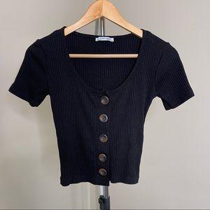 🔥3 for $30 Zara Trafaluc rib knit ribbed crop top